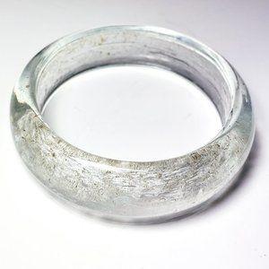 Vintage Heavy Quartz Crystal Bangle Bracelet